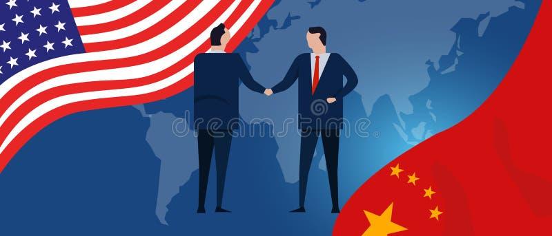 USA und China erreichen heraus ihre Hände, die Zusammenarbeits-Endhandelskonflikt des Angeboteshändedruckinternationalen abkommen vektor abbildung