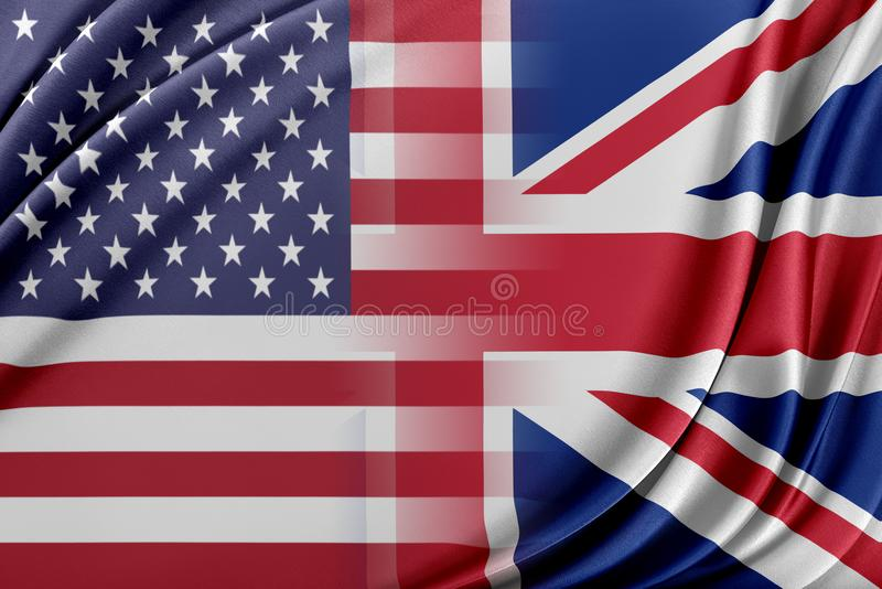 USA and United Kingdom. Relations between two countries. USA and United Kingdom stock illustration