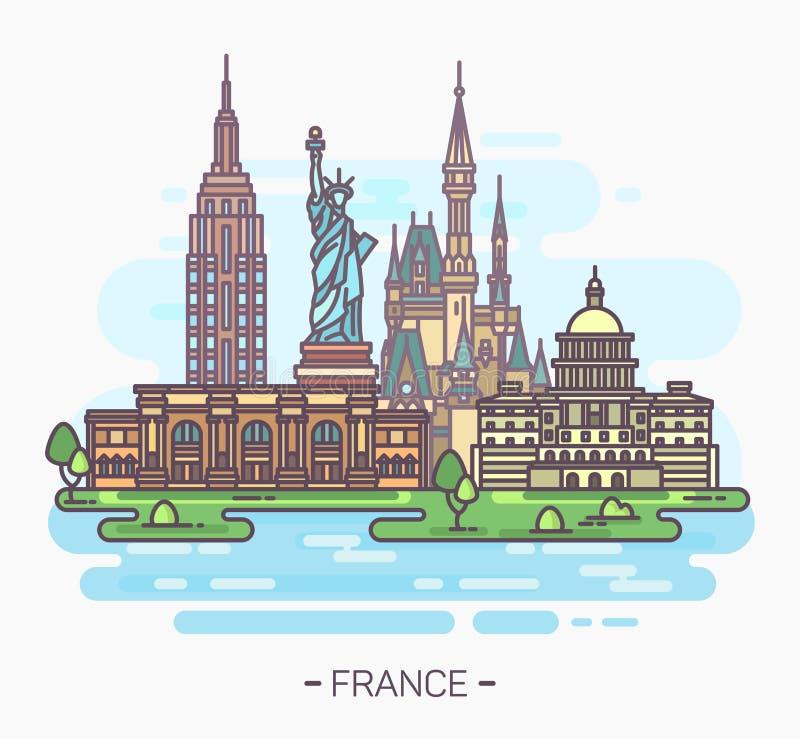 USA landmarks. Statue of liberty, capitol, stock illustration