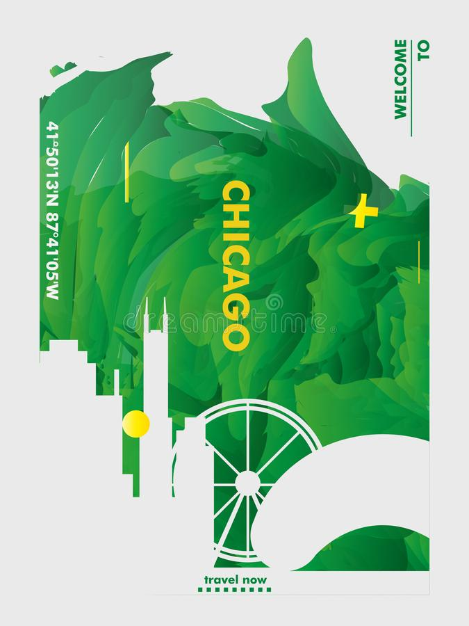 USA United States of America Chicago skyline city gradient vector poster royalty free illustration
