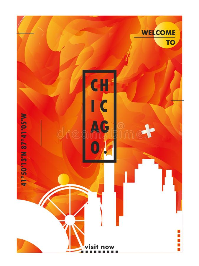 USA United States of America Chicago skyline city gradient vector poster stock illustration