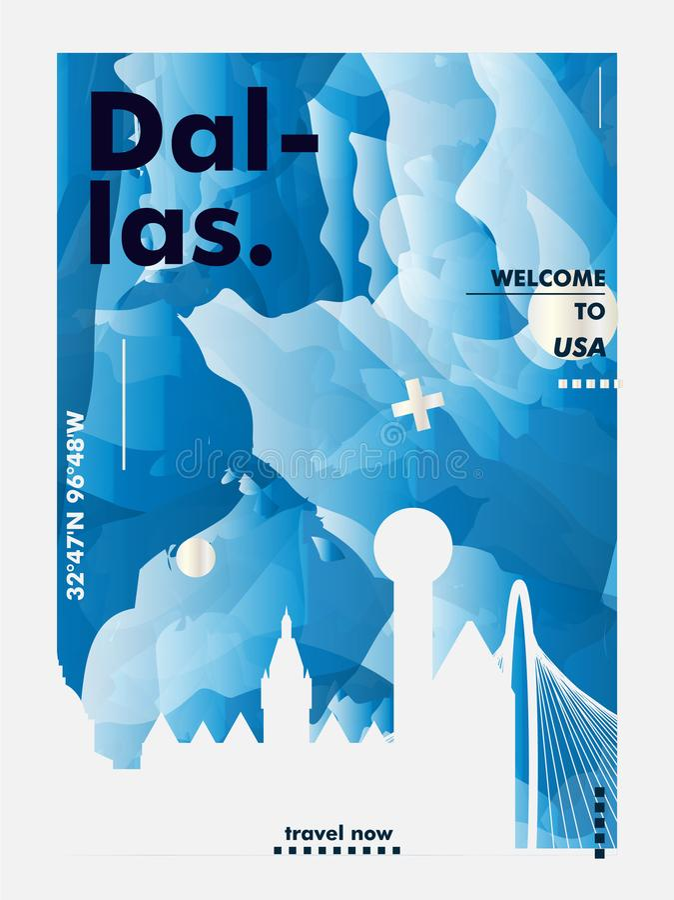 USA United States of America Dallas skyline city gradient vector royalty free illustration
