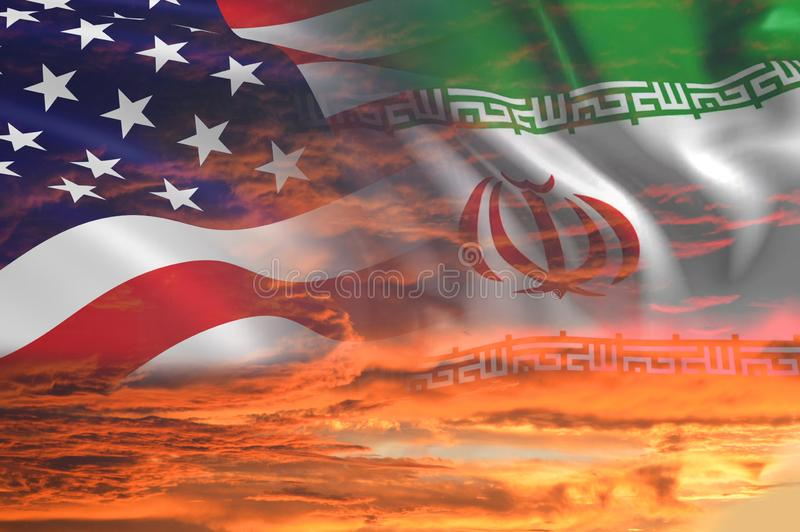 USA United States of America and Iran relations - iran us war with flags on stormy cloudy orange sky background. USA United States of America and Iran relations stock images