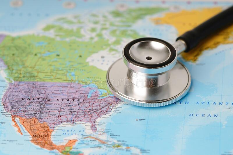 USA United states of america : Stethoscope with world map. Bangkok, Thailand - July 1, 2019: USA United states of america : Stethoscope with world map stock images