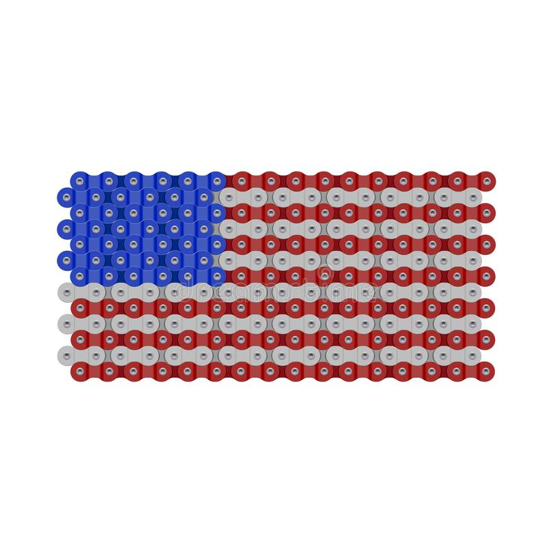 USA, United States or American Flag Made of Vector Bike or Bicycle Chain. Realistic Detailed Bike Chain Links royalty free illustration