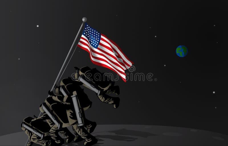 USA upprättar första utrymmestyrka stock illustrationer