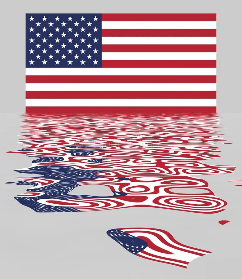 USA / US Flag With Reflection stock illustration
