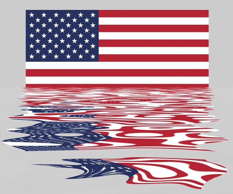 USA-/US-Flagge mit Reflexion stockbilder
