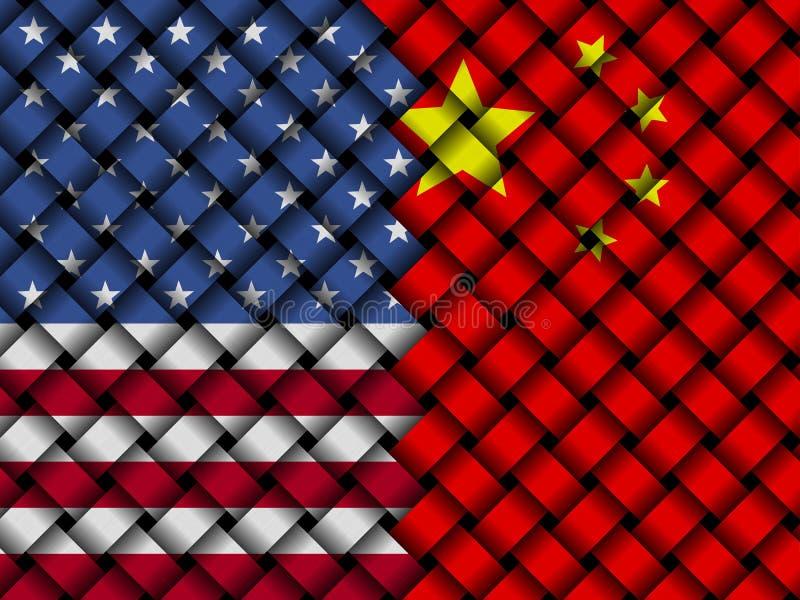 USA vävde samman Kina sjunker illustrationen stock illustrationer