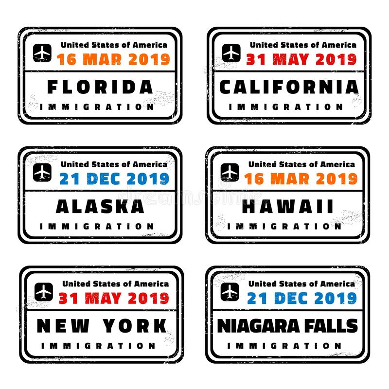 USA vector passport stamps. Collection: Florida, California, Alaska, Hawaii, New York and Niagara Falls royalty free illustration