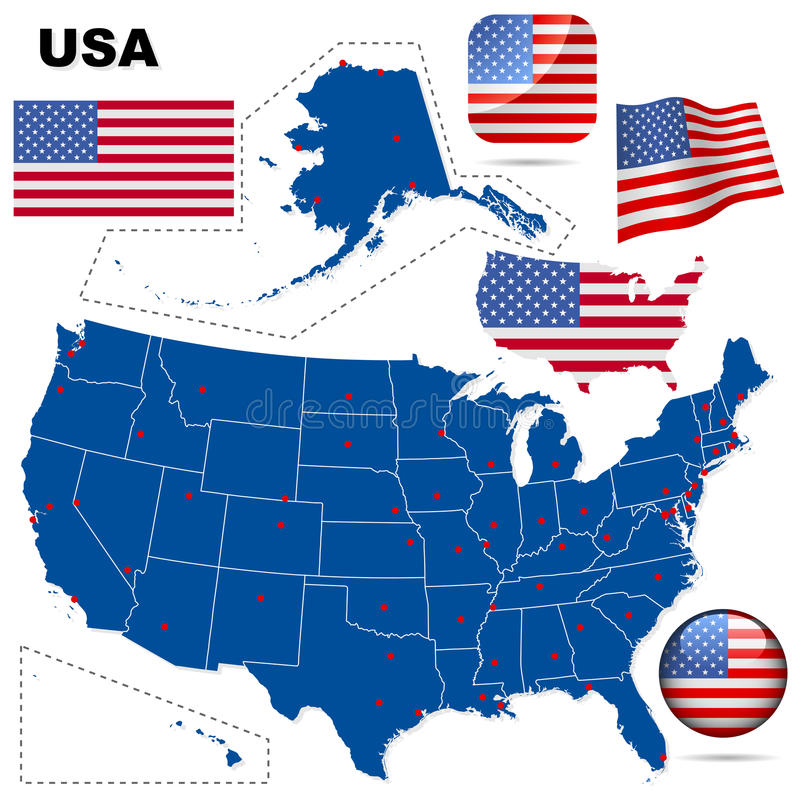Download USA vector set. stock vector. Image of areas, borders - 12760053