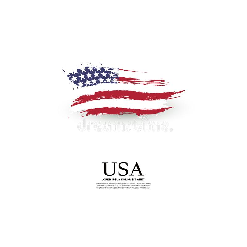 USA flag in grunge style on a gray background stock illustration