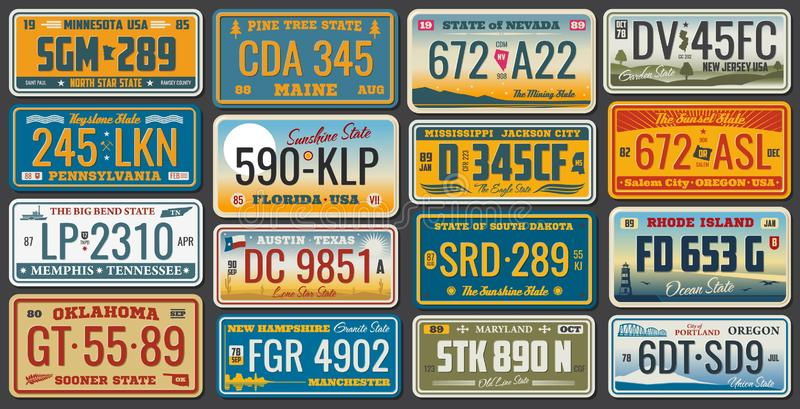 USA states ans cities vehicle registration plates. USA vehicle registration plates with state and city symbols. Vector American car number plates of Minnesota vector illustration