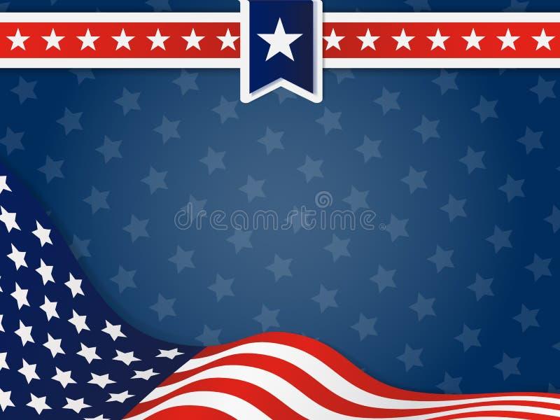 USA, vereinigter Zustand des gewellten Flaggen-Hintergrundes Amerikas stock abbildung
