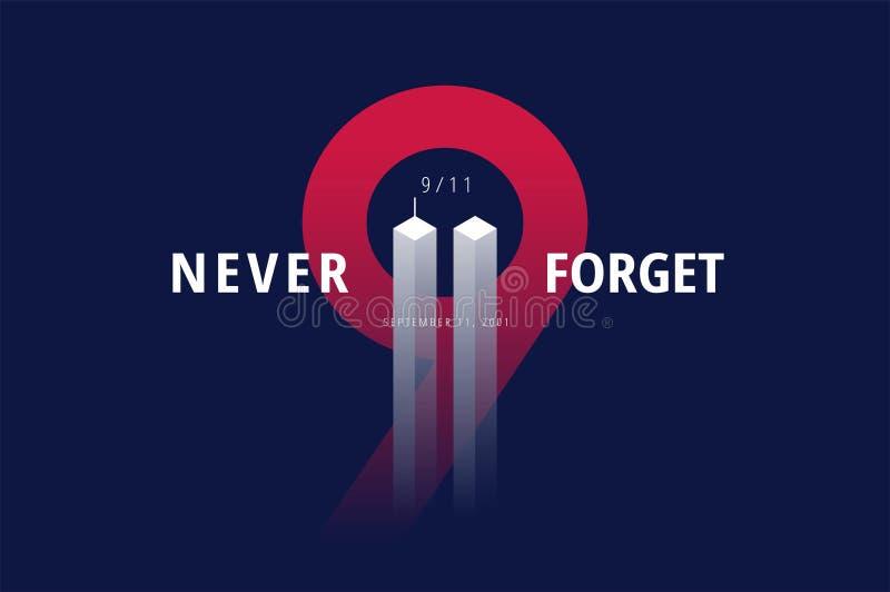 9/11 USA vergessen nie am 11. September 2001 Vektorbegriffsbeitrag lizenzfreie abbildung