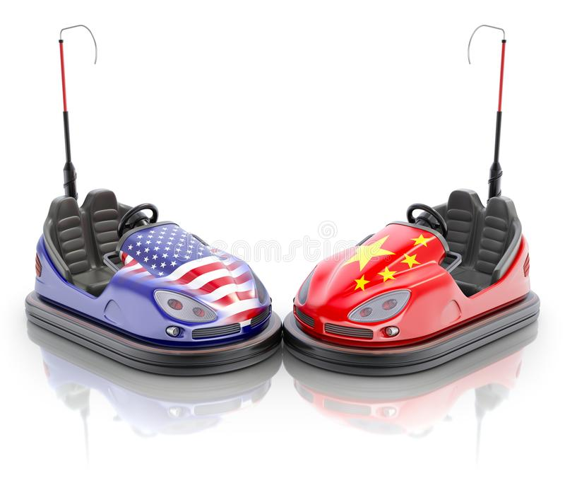 USA versus China business concept with bumper cars and flags royalty free illustration