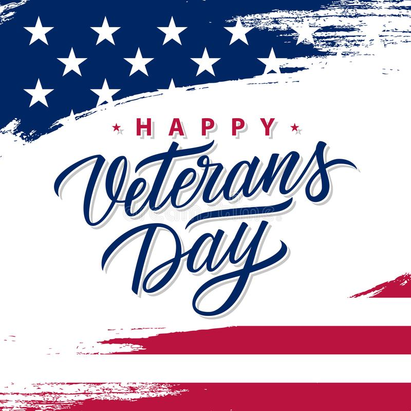 USA Veterans Day greeting card with brush stroke background in United States national flag colors and hand lettering. vector illustration