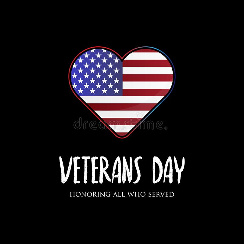 USA veterans day vector designs with american flag in the love symbol royalty free illustration