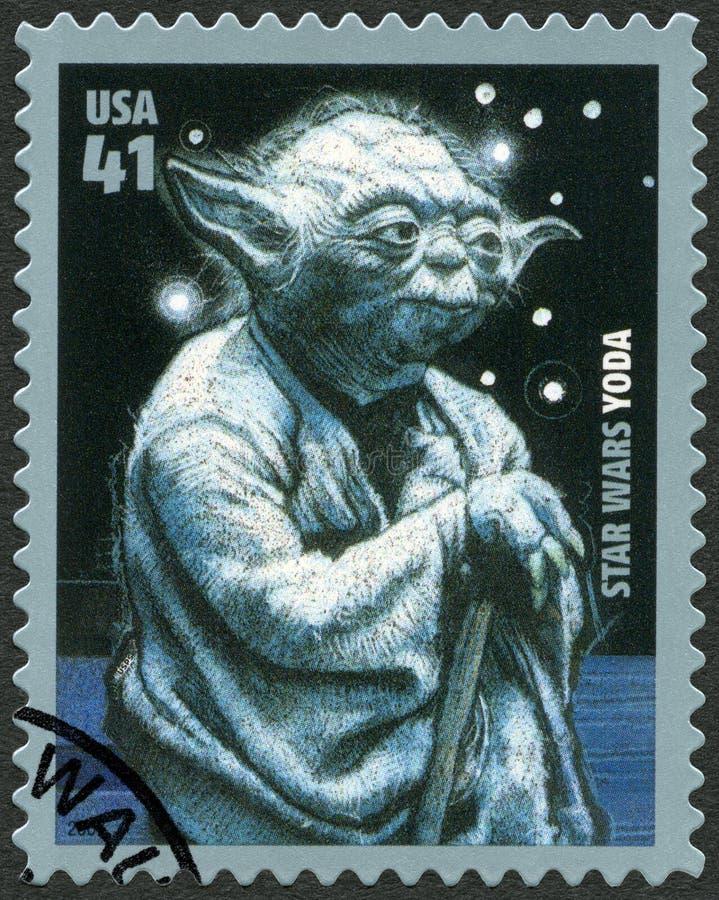 USA - 2007: visar ståenden av Yoda, seriepremiär av årsdagen för filmstjärnakrig 30 royaltyfria bilder