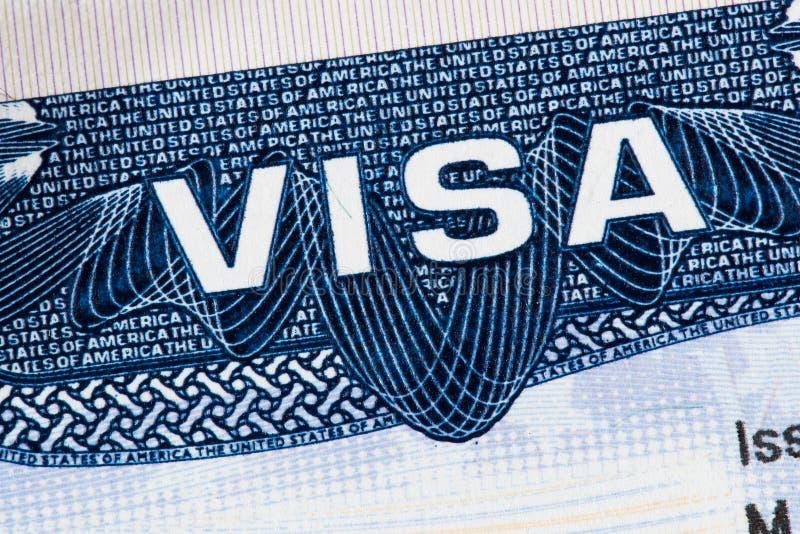 USA visum i pass royaltyfria foton