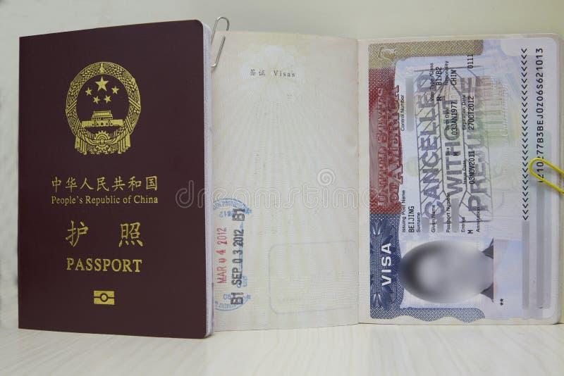 USA VISUM och Kina pass royaltyfri bild