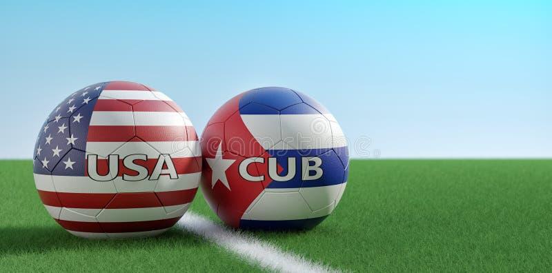 USA vs Kuba mecz pi?karski pi?ek no?nych pi?ki w usa i Kuba krajowi kolory na boisku do pi?ki no?nej - royalty ilustracja