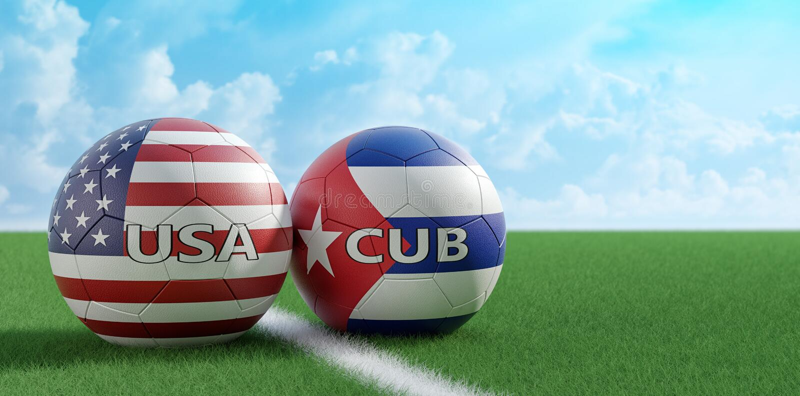 USA vs Kuba mecz pi?karski pi?ek no?nych pi?ki w usa i Kuba krajowi kolory na boisku do pi?ki no?nej - ilustracji