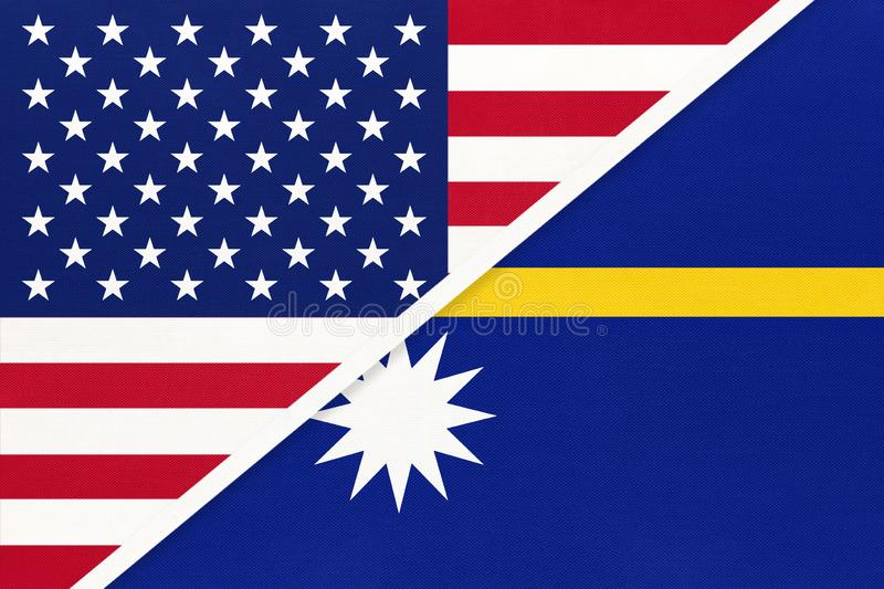 USA vs Nauru national flag from textile. Relationship between american and Oceania countries. USA vs Nauru national flag from textile. Relationship, partnership stock illustration