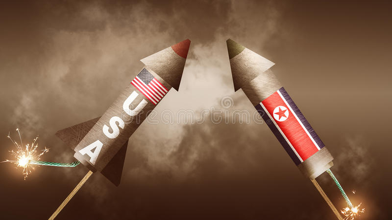 USA vs Nordkorea stock illustrationer