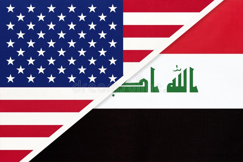 USA vs Republic of Iraq national flag from textile. Relationship between two american and asian countries vector illustration
