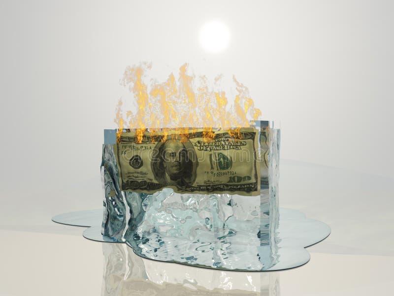 USA waluty ogień topi lód ilustracja wektor