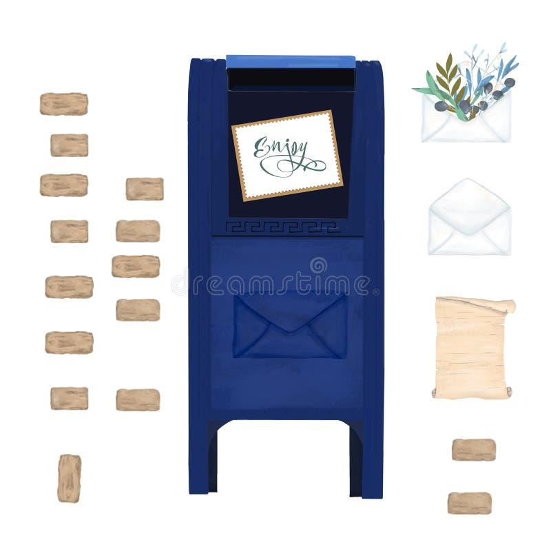 Usa wibrujący kruszcowy otwarty odpowiada błękitną inbox flagę na białym tle Akwarela koloru poczty błękitna ręka rysująca poczta ilustracja wektor