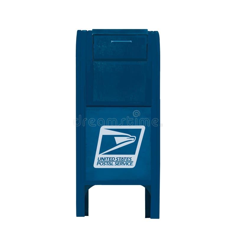 Usa wibrujący kruszcowy otwarty odpowiada błękitną inbox flagę na białym tle Akwarela koloru sieci błękitna ręka rysujący środki  royalty ilustracja