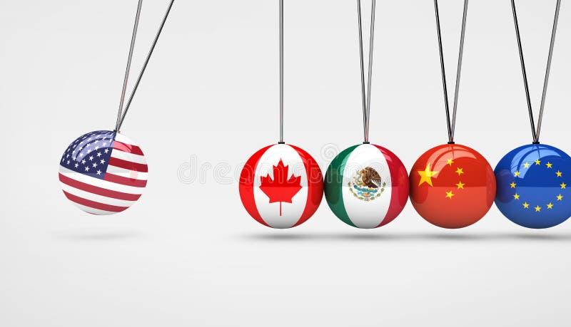 USA-Wirtschafts-globaler Markt-Handelsauswirkungs-Konzept lizenzfreie abbildung