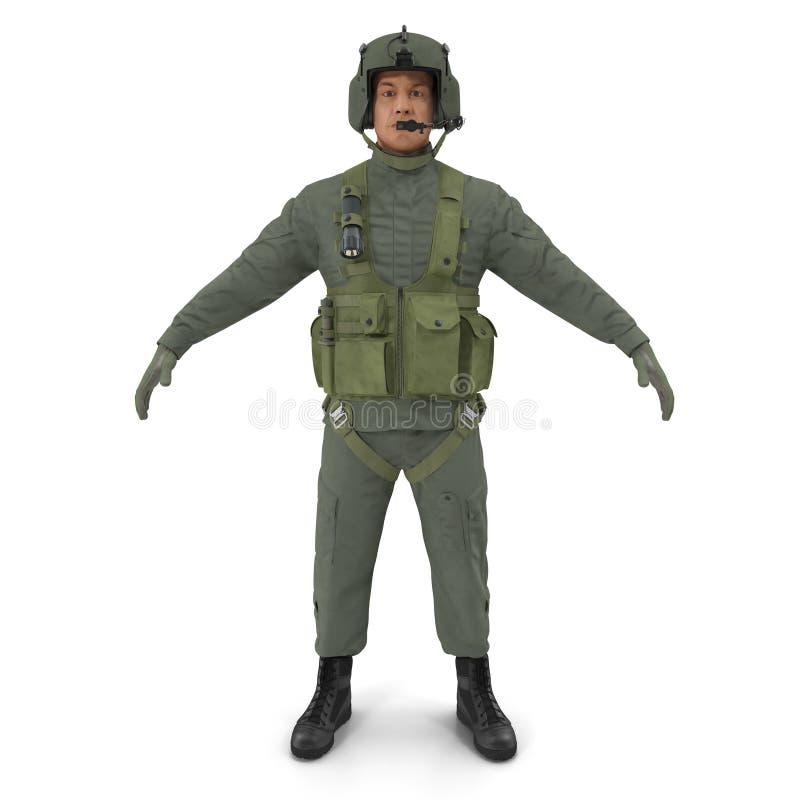 USA wojskowy Pilotuje na bielu Frontowy widok ilustracja 3 d royalty ilustracja