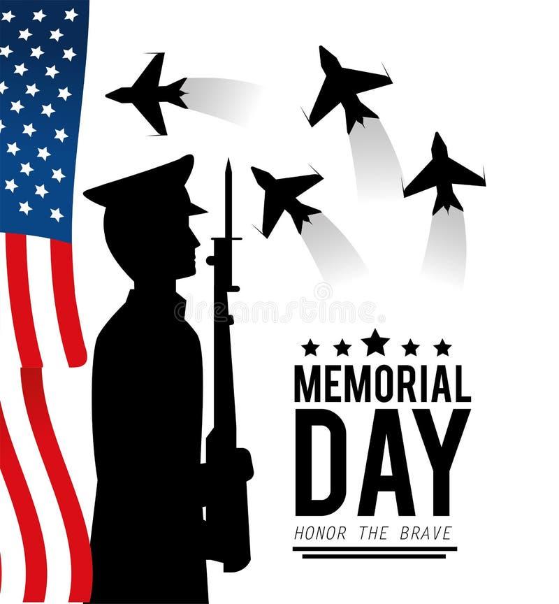 Usa wojskowy z karabinem dzień pamięci i flaga royalty ilustracja