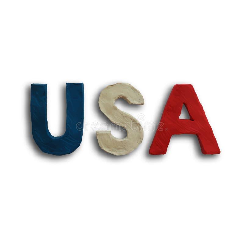 USA Word Text Vector vector illustration