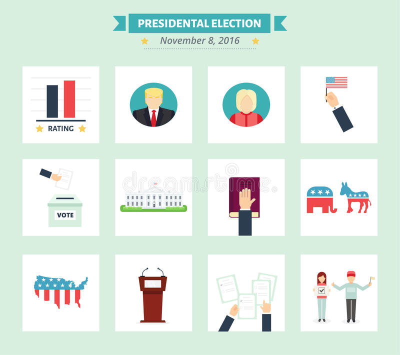 USA wybór prezydenci ikony ustawiać Głosowania pojęcia symbole w mieszkanie stylu ilustracja wektor