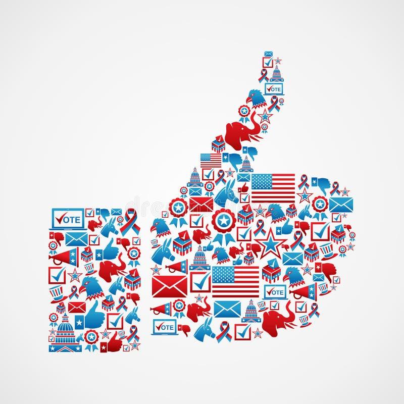 USA wyborów ikon kciuka ręka royalty ilustracja