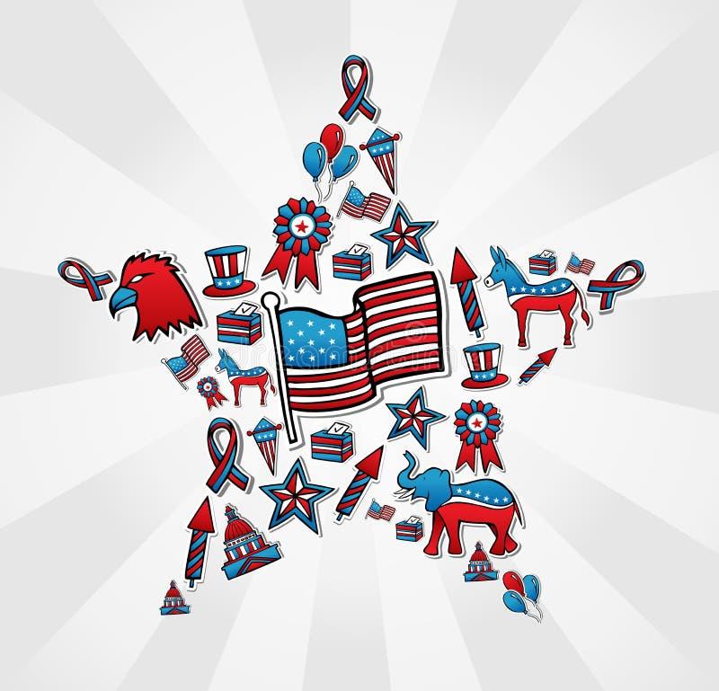 USA wyborów ikona ustawiająca w gwiazdzie ilustracja wektor