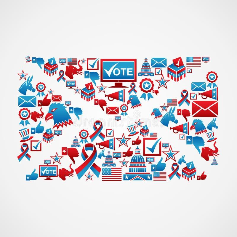 USA wybory ikon poczta kształt ilustracji