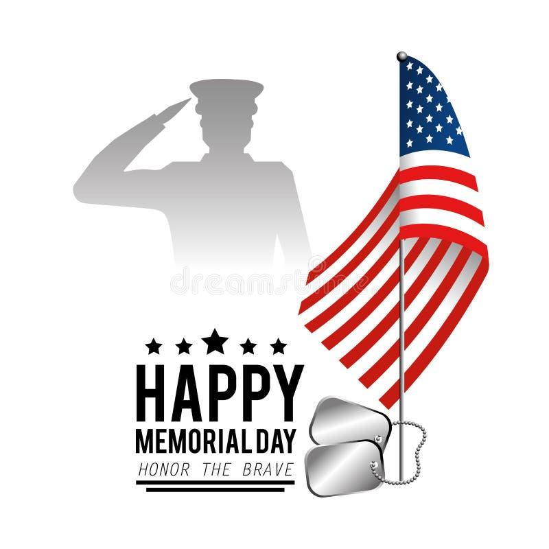 Usa zaznaczają z wojskowy i gwiazdami dzień pamięci ilustracja wektor