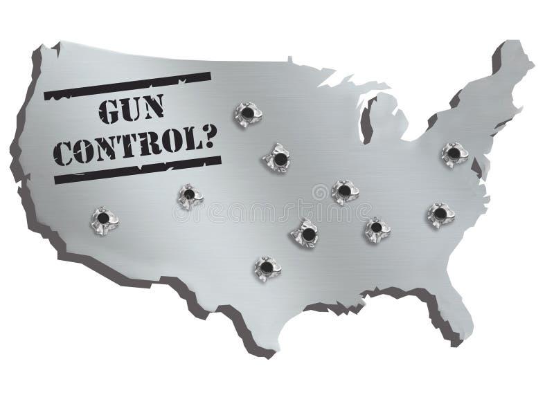 USA zeichnen im Stahlmetall mit Löchern von den Gewehrschüssen und von Text Reglementierung von Waffenbesitz auf Künstlerisches K vektor abbildung