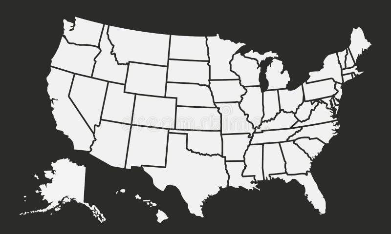 USA zeichnen lokalisiert auf einem schwarzen Hintergrund auf Staaten- von Amerikahintergrund Amerikanische Karte Abbildung lizenzfreie abbildung