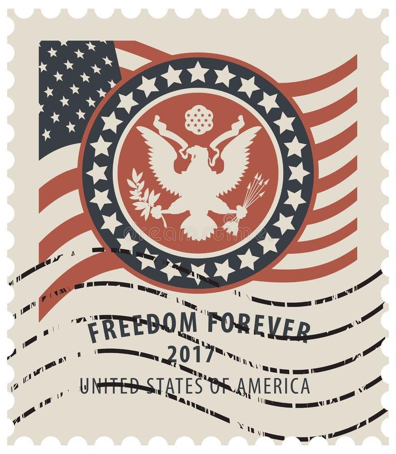 USA znaczek pocztowy z flaga amerykańską i orłem royalty ilustracja