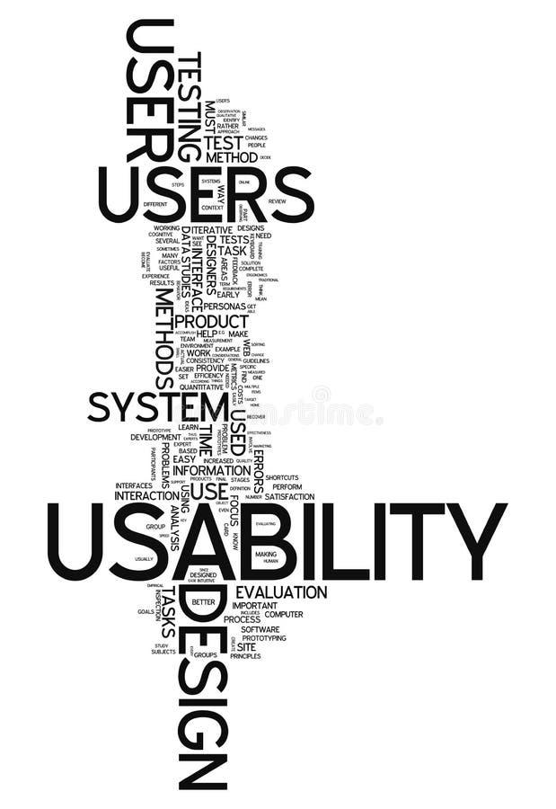 Usabilidade da nuvem da palavra ilustração stock
