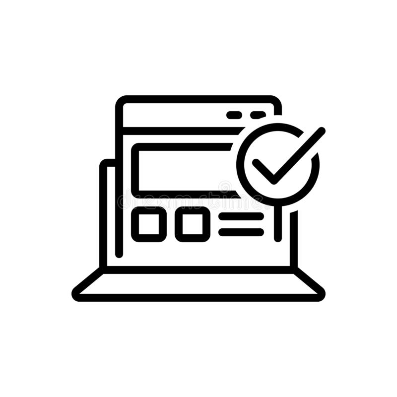 Black line icon for Usability Control, operation and applicability. Black line icon for Usability Control, preferences, process, organization,  operation and royalty free illustration