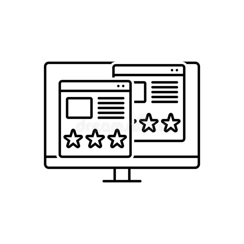 Black line icon for Usability, Evaluation and assessment. Black line icon for usability, logo, symbol, shape, evaluation and assessment stock illustration