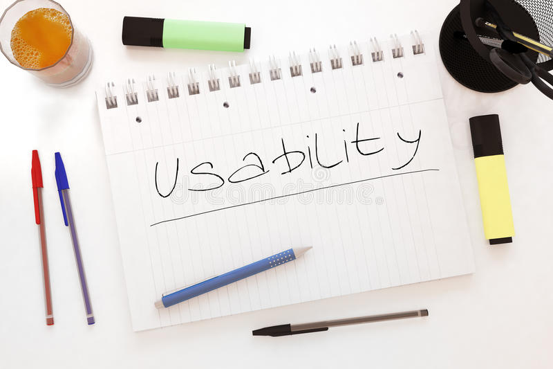 Usability. Handwritten text in a notebook on a desk - 3d render illustration royalty free illustration