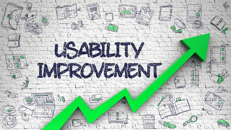 Usability Improvement Drawn on White Brick Wall. 3d. Usability Improvement Drawn on Brick Wall. Illustration with Doodle Design Icons. Brick Wall with Usability stock illustration